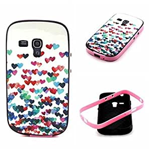 LHY 2-in-1 Many Colorful Heart Pattern TPU Back Cover with PC Bumper Shockproof Soft Case for Samsung S3 Mini I8190