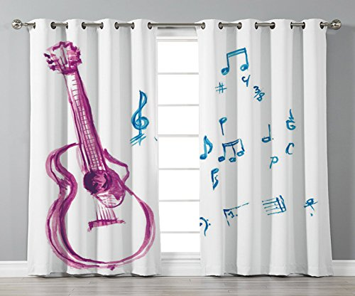 Thermal Insulated Blackout Grommet Window Curtains,Guitar,Watercolor Musical Instrument with Notes Sheet Elements Brush Stroke Effect Decorative,Magenta Blue White,2 Panel Set Window Drapes,for Living