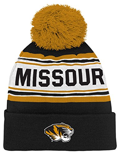 Black Ncaa Cover - NCAA by Outerstuff NCAA Missouri Tigers Kids & Youth Boys Jacquard Cuffed Knit Hat w/ Pom, Black, Youth One Size