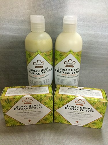 Indian Hemp & Haitian Vetiver Soap, Lotion & Body Wash Set.. by Nubian Heritage (4 Pack)... iwgl