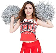 RETON 24 Pack Cheerleading Pom Poms, Metallic Cheerleader Pompoms, Cheering Squad Poms for Adults Kids Cheer S