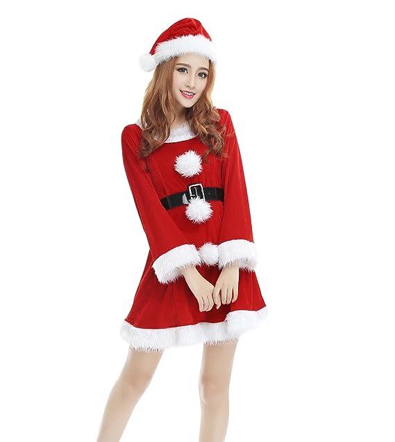 YOUJIA Donne Regalo Manica Lunga Costume da Babbo Natale di Cosplay del  Vestito di ballo con a5b89298c3d