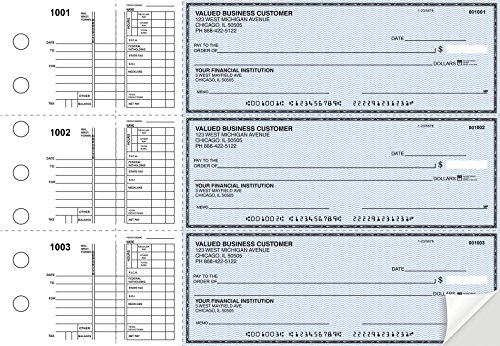 Business Checks, 3 to a Page Blue Safety Multipurpose Checks, 300 Duplicate Checks (Carousel On)