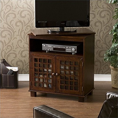 Pemberly Row Swivel Top Media Stand in Espresso