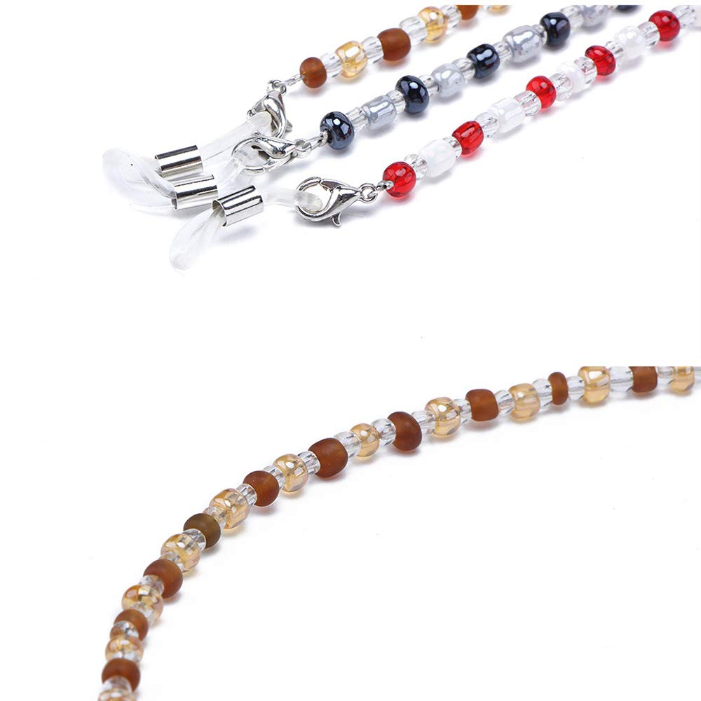 Eye Glasses Necklace Chain Cord for Women Red Brown Black GOOTRADES 3 Pieces Eyewear Retainer Lanyard Holder 25.98 Inch Long Fashion Beaded Eyeglass Holders Around Neck