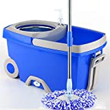 Linbing123 360 Spin Mop Bucket with 3 Extra Microfiber Head Refills 2X Wheels Stainless Steel Drainage Basket for Home Floor Cleaning