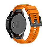 Garmin Fenix 5 Watch Band, Shangpule 22mm Soft Silicone Wristband Replacement strap with Quick Release Connectors for Garmin Fenix 5 / Forerunner 935 GPS Watch (Orange)