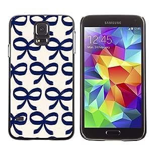 A-type Arte & diseño plástico duro Fundas Cover Cubre Hard Case Cover para Samsung Galaxy S5 (Bow Bowtie Blue White Pattern Clean)