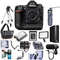 Nikon D5 FX-Format DSLR Camera Body (XQD Version) - Bundle with Camera Bag, Spare Battery, 32GB XQD Card, 4TB External Hard Drive, Tripod, Remote Shutter Trigger, Video Light, Software Pack and More