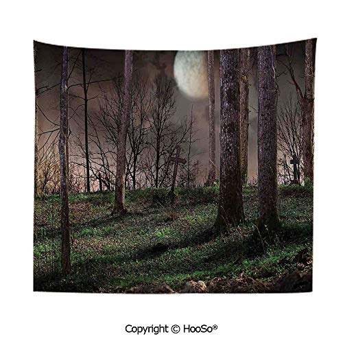 Durable Washable and Reusable Tapestry Wall Hanging Carpet 59x79in,Dark Night in The Forest with Full Moon Horror Theme Grunge Style Halloween,Brown Green Yellow Comfy and No Strange Odor Home Decor -