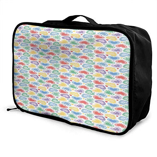 Love Luggage trolley bag Patchwork Style Cute Hearts White Backdrop Dreamy Fantasy Display Romantic Valentines Waterproof Fashion Lightweight Multicolor