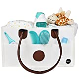 Crib with Changing Table on Left Baby Diaper Caddy Organizer: Portable Nursery Storage Bin | Great Home, Car & Travel Organizer | Diaper Stacker For Changing Table | Wipes, Nappies, Bottle Carrier | BONUS Baby Change Mat Included