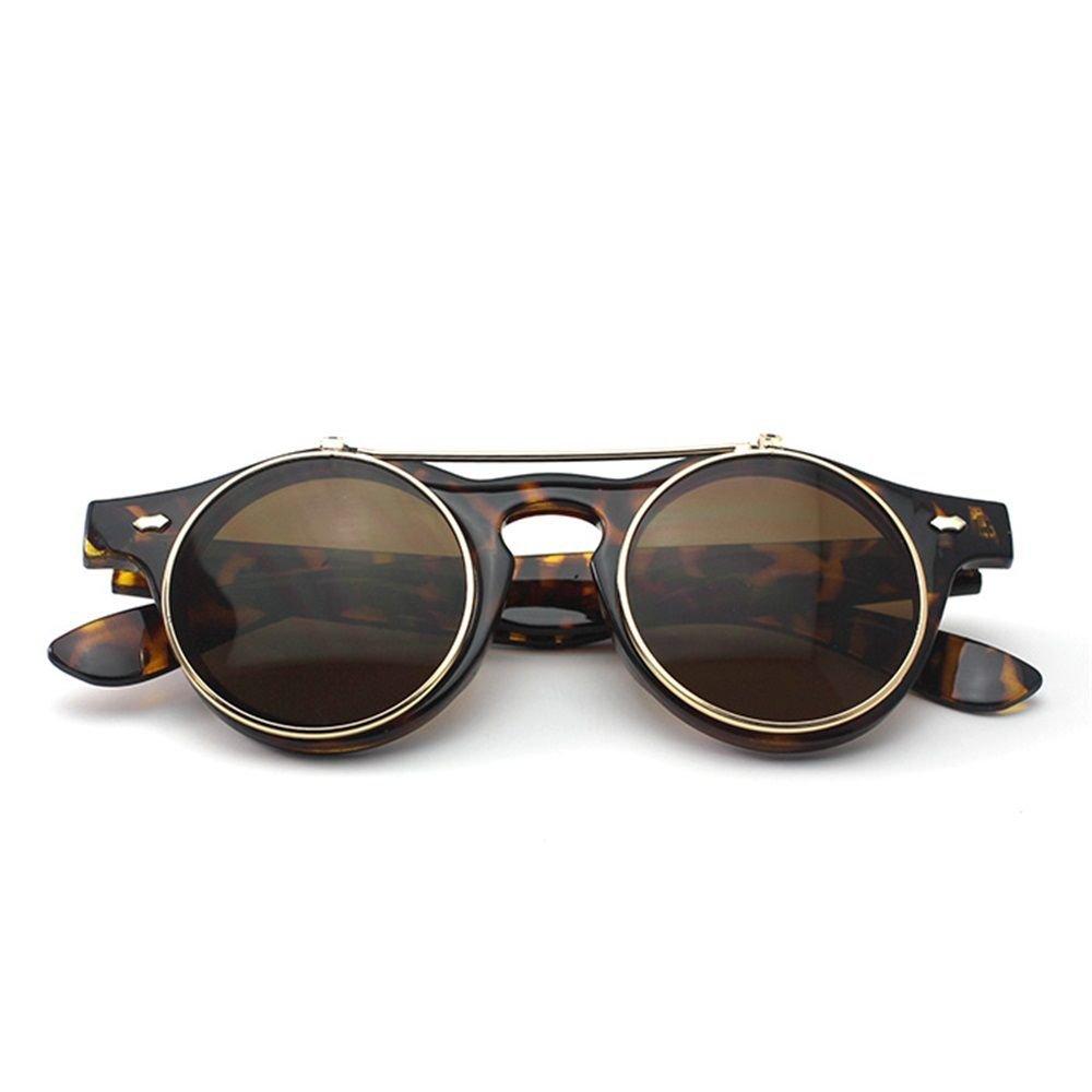 UV400 Frauen Polarisierte Sonnenbrille Metallrahmen Rund Schatten Brille Schwarz