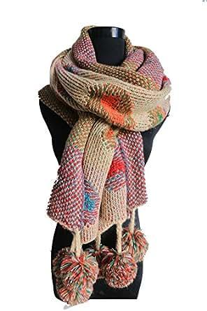 Winter Polka-dot Pompom Scarf Handmade Knitted Reversible