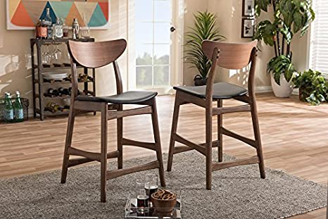 24 Black Baxton Studio 2 Piece Latina Scandinavian Style Faux Leather Upholstered Walnut Counter Stool Set