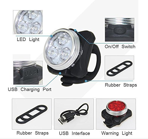 DUBUT21 Super Bright Bicycle Light Set USB Rechargeable Bike Headlight Free Tail Light Waterproof LED Bike Light Easy to Install Cycling Safety Commuter Flashlight Best Mountain Road City Bicycle by DUBUT21 (Image #3)