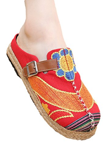 Soojun Kvinna Canvas Boho Espadrille Broderi Slip-on Walking Tofflor Rött