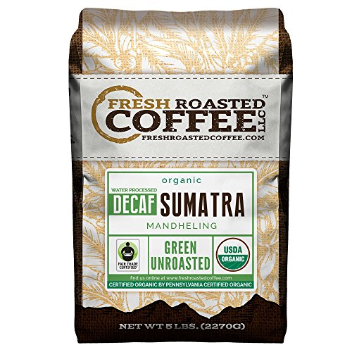 Fresh Roasted Coffee LLC, Green Unroasted Sumatra Decaffeinated Coffee Beans, Fair Trade, Swiss Water Process, USDA Organic, 5 Pound Bag