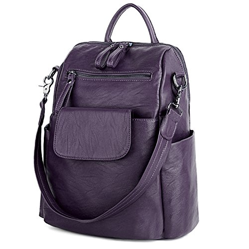 Purple Leather Women Rucksack PU Backpack Washed Shoulder UTO Purse Bag Ladies qvRwXnHd