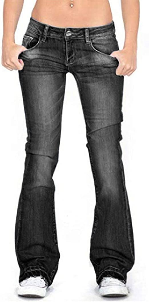 Tootess Women Denim Pants Relaxed Fit Stretchy Fabric Oversized Bootcut Jeans