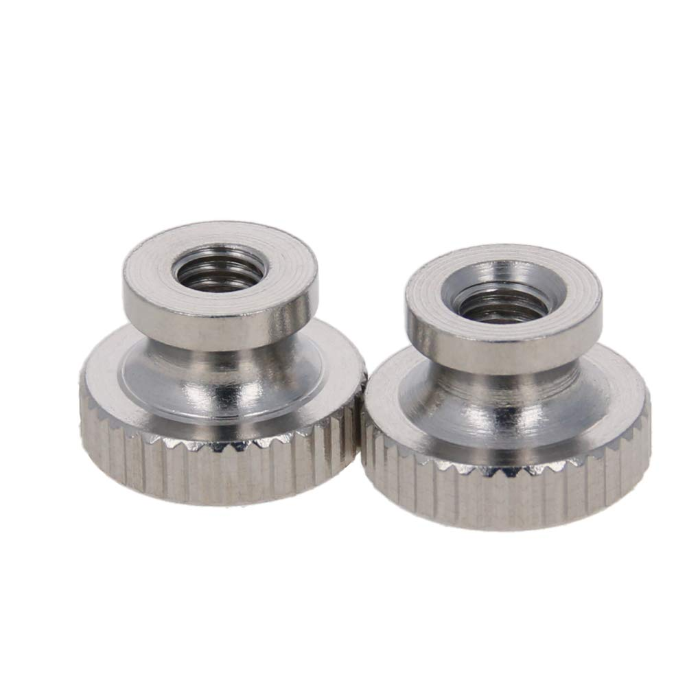 MroMax Knurled Thumb Nuts M4 Through Hole Round Knobs with Whitewash 304 Stainless Steel Straight Flower Silver Tone 10pcs