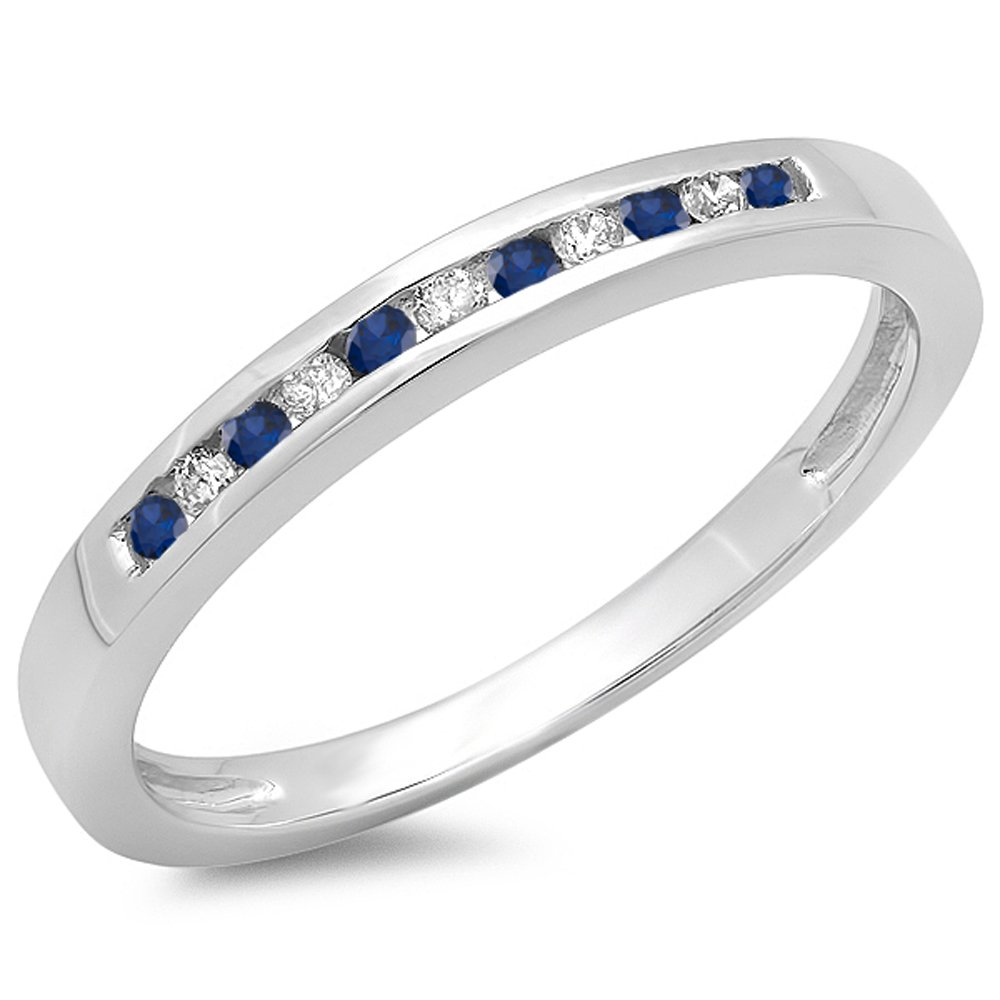 Dazzlingrock Collection 10K Round Blue Sapphire & White Diamond Anniversary Wedding Band Stackable Ring, White Gold, Size 6.5 by Dazzlingrock Collection