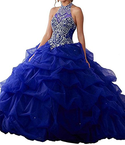 Ruisha Women Halter Beaded Crystal Organza Sweet 16 Ball Gowns Quinceanera Dresses Party Prom Gowns RS0058 US 0 Royal (Halter Quinceanera Gown)