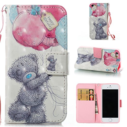 iPhone 5S Case,iPhone 5 Case,iPhone SE Case,DAMONDY 3D Painting Glitter Stand Wallet Purse Card ID Holders Design Flip Cover Soft TPU Bumper PU Leather Magnetic for iPhone 5 5S SE-Gray bear (4g Bumper)