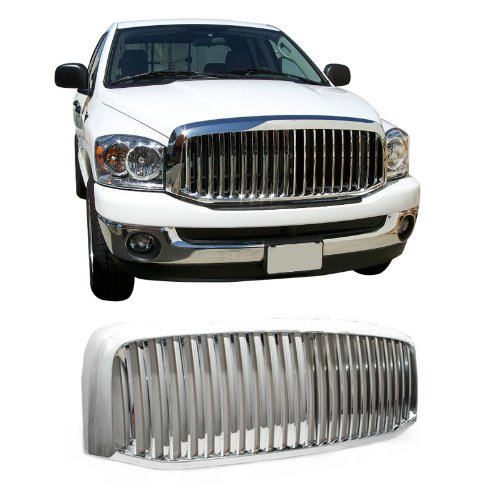 VioGi Fit 06-08 Dodge Ram 1500 06-09 Ram 2500/3500 Pickup 1pc Chrome Plated Finish ABS Plastic Vertical Style Badgeless Front - Chrome 3500 Truck Grill