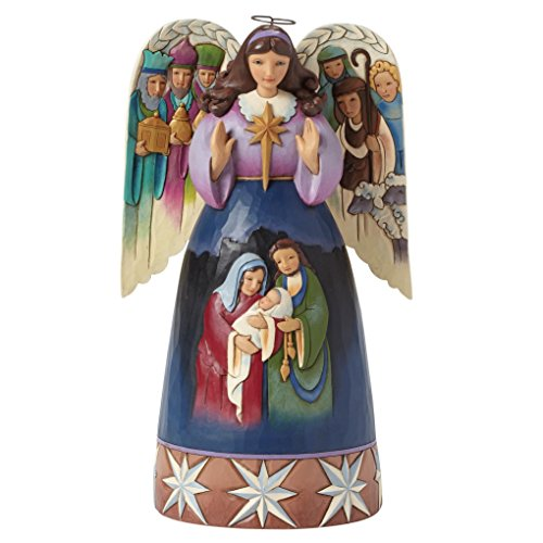 Jim Shore for Enesco Heartwood Creek Nativity Angel -Sculpted Wings Figurine, 9.5-Inch