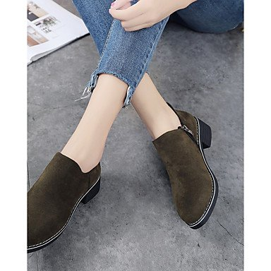 Fall 4in Green Gll Shoes Women's Zipper Boots Walking Formal Boots Dress Casual Black Yellow Shoes 1in Black Chunky 3 Combat Heel Suede 1 amp;xuezi BB0qU