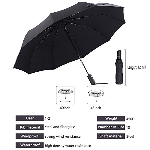 e050b884741c Colorain Windproof Travel Umbrella, Auto Open Close 10 Fiberglass ...