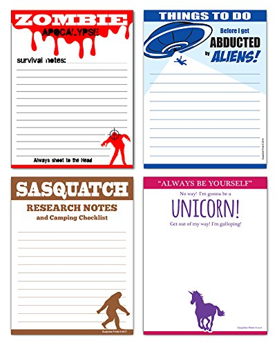 Funny Novelty Gag Gift Note Pads - Unicorn, Sasquatch, Zombies & Aliens (4-Pack)