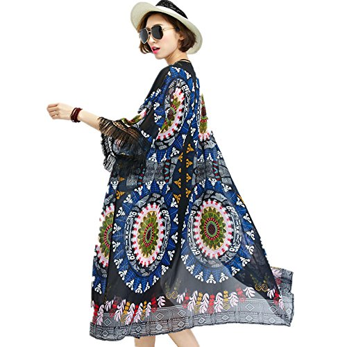 Women's Floral Printed Chiffon Kimono Cardigan Contrast-Trim Long Beach Cover Up (XL, Blue)