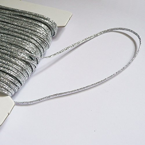 2m of 3mm Russia Braid (soutache cord) Silver metallic lurex On Trend Fabrics