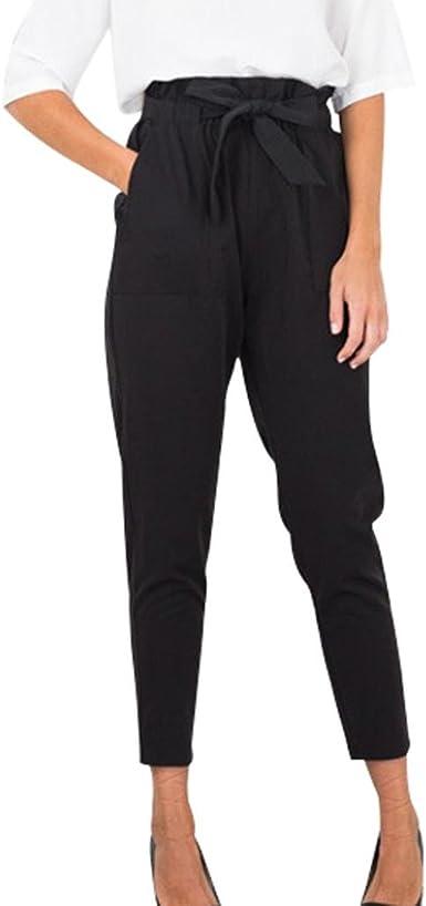 Daylin Mujer Pantalones Lápiz Casual Cintura Alta Slim Algodón Mezclado Pantalones: Amazon.es: Ropa y accesorios