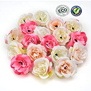 Silk flowers in bulk wholesale Fake Flowers Heads Artificial Flower 5cm Silk Rose Flower Head Wedding Party Home Decoration DIY Wreath Scrapbook Craft Fake Flower 30pcs/lot 4cm (Multicolor) 23