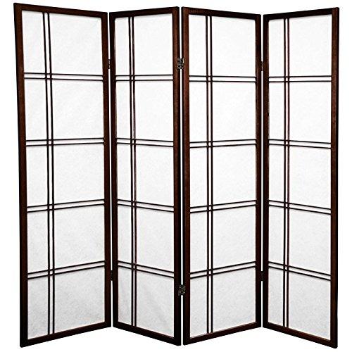 Oriental Furniture 5 ft. Tall Double Cross Shoji Screen - Walnut - 4 Panels