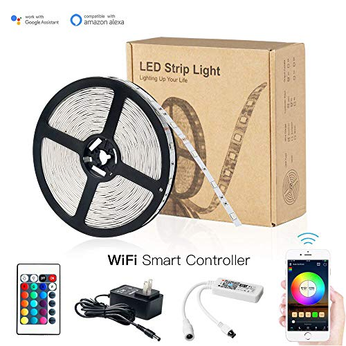 Magic Hue WiFi RGB Light Strip, Works with Android IOS System Alexa Google Assistant, Comes with 16.4ft 150LEDs IP65 Waterproof 5050 RGB Strip Light+12V UL Certificated Transformer+WiFi Remote -