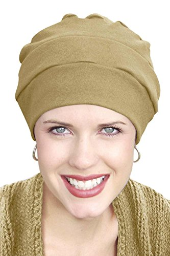 sandals Headcovers Unlimited 100% Cotton Cancer Turban: Three Seam Cancer Hat for Chemo Patients Khaki