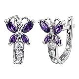 Purple & Clear CZ Butterfly .925 Sterling Silver Huggie Earrings