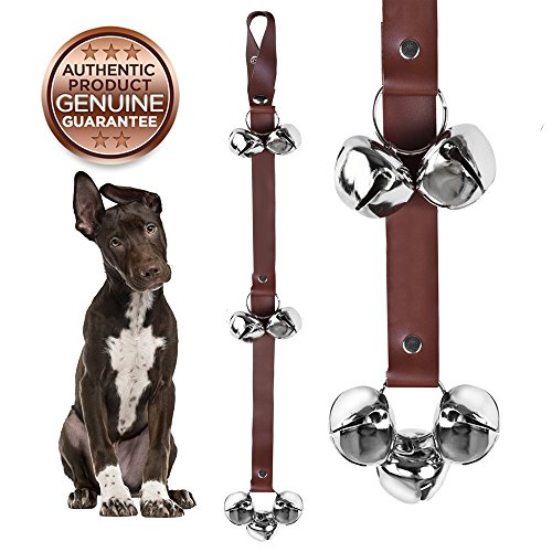 COOLOVER Dog Doorbells Premium Quality Training Potty Great Dog Bells Adjustable – Premium Quality – 7 Extra Large Loud 1.4 Mighty Paw Leather doorBells, Premium Leather Dog Doorbells(brown) Review