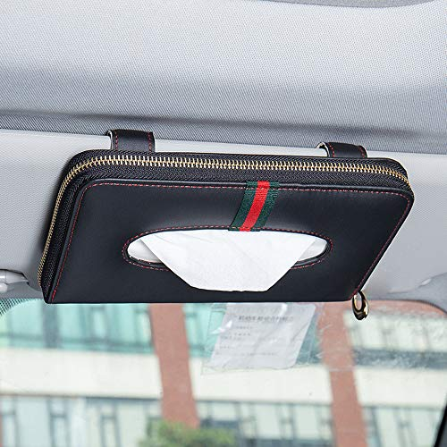 U&M Car Tissue Box Holder, Premium Leather Zipper Sun Visor Napkin Holder Backseat Tissue Case Car Accessories (Black & Red Line)