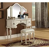 Acme Furniture Trini 90024SET Vanity Set with Vanity and Stool + Mirror in White