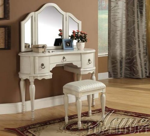 Trini 3 pc off white finish wood make up dressing table vanity set with stool and tri-fold mirror