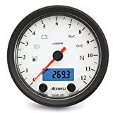 Acewell CA085-551 Classic Multifunction 12K Tachometer/Speedometer - Black CNC / White Face