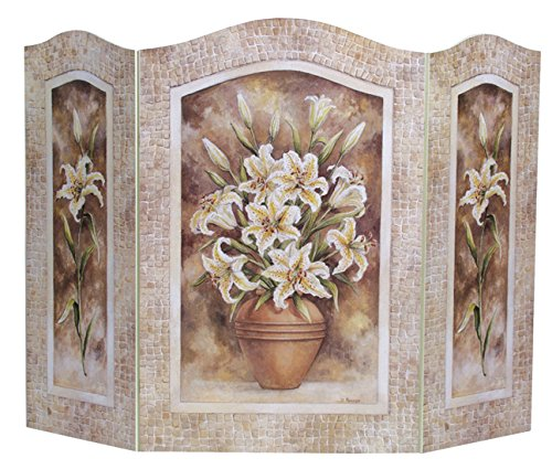 Stupell Home Décor Lily Floral Arrangement 3-Panel Fireplace Screen, 43 x 0.5 x 31, Proudly Made in USA - Art Com Fireplace