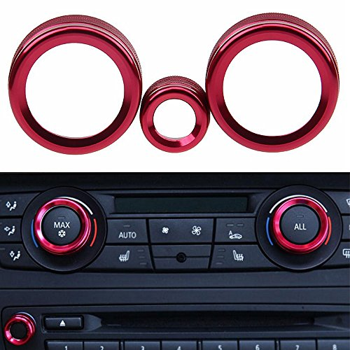 PolarLander Car Interior 3 Pcs/Lot Aluminum Alloy Air Conditioning Decoration Audio Volume Knob Cover For BMW X1 E84 2011 2012 2013 2014 2015 Red ()