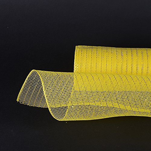 BBCrafts 10 Inch X 10 Yards Premium Deco Mesh Wrap Metallic Stripes for Gift Home Decor (Yellow)