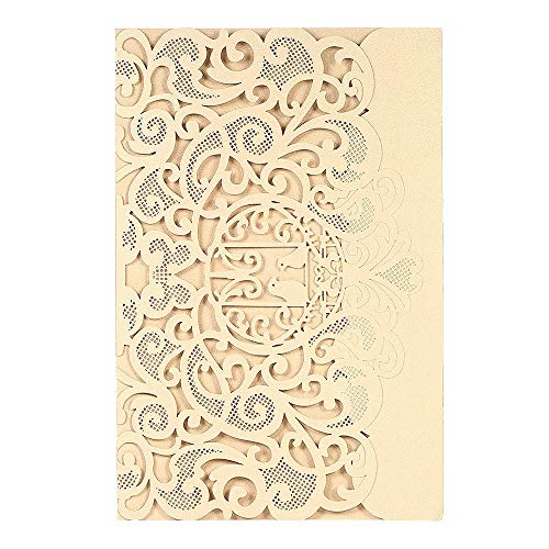 ZHX Wedding Invitation Card Cover Pearl Paper Laser Cut Birds Pattern Invitation Cards Wedding Anniversary Supplies-Gold Gold One Size from ZHX